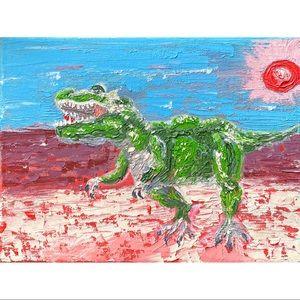 T-Rex Dinosaur Painting Trex in a Desert Artwork